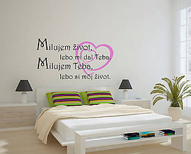 Dekorácie - (3653n) Nálepka na stenu - Milujem teba - 5268607_