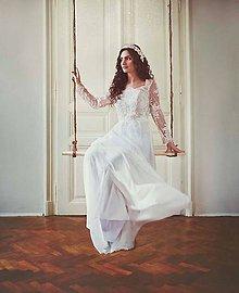 Šaty - Svadobné šaty z korálkovej krajky holý  chrbát - 5268883_