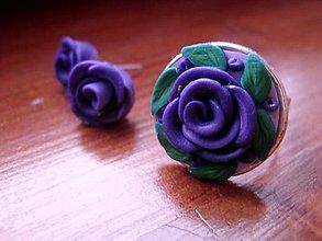 Sady šperkov - Fialové ružičky - súprava - 5268455_