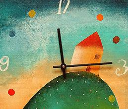 Hodiny - Keramické hodiny 33x33 cm - Dům na kopci - 5269852_