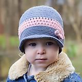 Detské čiapky - Prechodná elegantná šiltovka...
