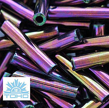 Korálky - TOHO rokajl (Bugle 9mm) Metallic iris purple - 5274020_