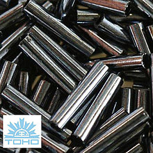 Korálky - TOHO rokajl (Bugle 9mm) Metallic hematite - 5274740_