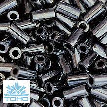 Korálky - TOHO rokajl (Bugle 3mm) Metallic hematite - 5274800_