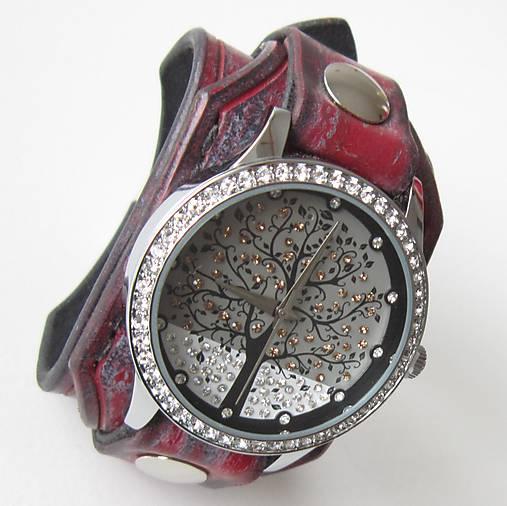 4b5c5b174 Dámske červeno-čierne kožené hodinky / leon - SAShE.sk - Handmade ...