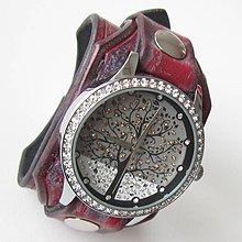 Náramky - Dámske červeno-čierne kožené hodinky - 5275577_