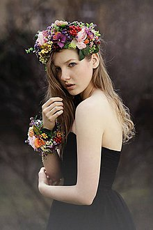 Ozdoby do vlasov - Čelenka Queen of Flowers - 5276886_