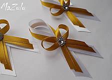 bielo & zlaté svadobné pierko