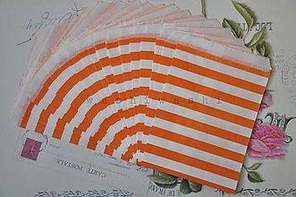 Obalový materiál - papierovy sacok namornicky pruh oranz - 5283803_