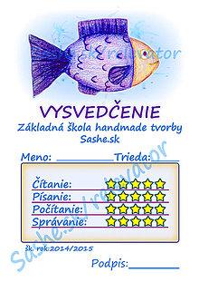 Papiernictvo - Vysvedčenie morské živočíchy (Rybka) - 5282596_