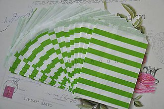 Obalový materiál - papierovy sacok namornicky pruh zeleny - 5284526_