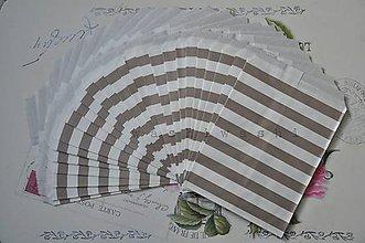 Obalový materiál - papierovy sacok namornicky pruh sivý - 5284534_