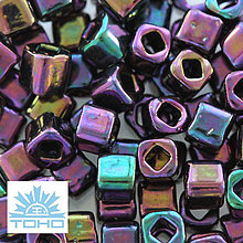 Korálky - TOHO rokajl (Cube 3mm) Metallic iris purple - 5284148_