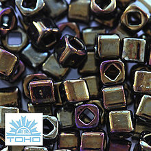 Korálky - TOHO rokajl (Cube 3mm) Metallic iris brown - 5284207_