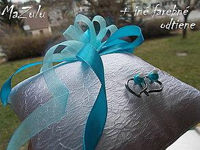 """Prstene - svadobný vankúšik """" tyrkys"""" - 5285129_"""