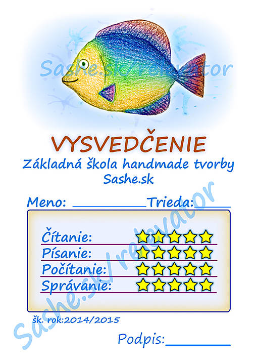 Vysvedčenie Dúhová rybka (Morské živočíchy)