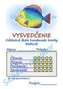 Papiernictvo - Vysvedčenie morské živočíchy (Dúhová rybka) - 5284508_