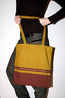 Nákupné tašky - Nákupná taška so zlatým prúžkom - 5289321_