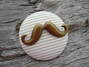 Odznaky/Brošne - Brož Moustache bílo-béžová - 5288788_