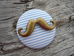 Odznaky/Brošne - Brož Moustache modro-bílá - 5288959_