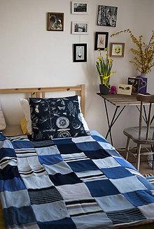 Úžitkový textil - Modrá recyklovaná deka - 5285935_