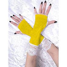 Rukavice - Rukavice zamatové žlté s čipkou 1095 - 5293501_