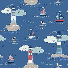 Textil - Predpraná bavlna Lighthouse on deep sea blue - 5292424_