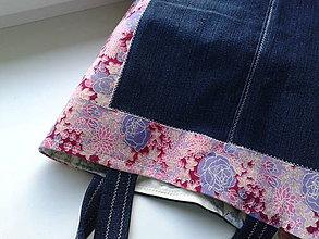 Nákupné tašky - Nákupka-jeans a kvet - 5296577_