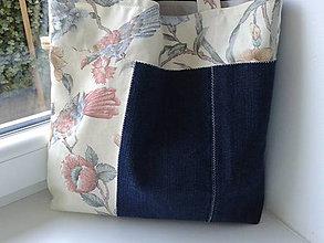 Nákupné tašky - Nákupka-jeans papagáj - 5296591_