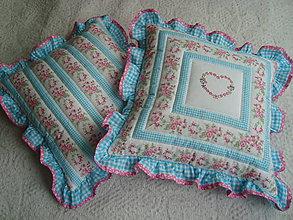 Úžitkový textil - Volánikové vankúšiky - tyrkysové - 5295829_