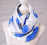 Šatky - megašatka biela s modrými kruhmi - 5294359_