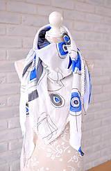Šatky - megašatka biela s modrými kruhmi - 5294362_