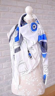 Šatky - megašatka biela s modrými kruhmi - 5294361_