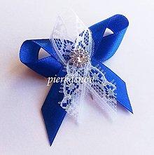 Pierka - Svadobné pierko malé pre hostí s čipkou bielo - modré - 5298341_
