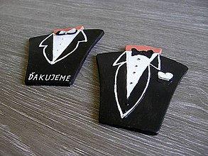 Papiernictvo - svadobný darček, menovka - oblek - 5300687_
