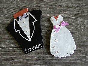 Darčeky pre svadobčanov - svadobný darček šaty + oblek/sada - 5300757_