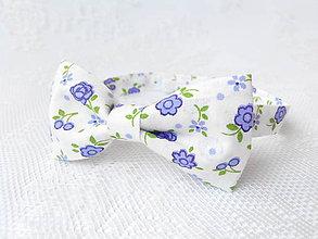 Detské doplnky - Detský romantický motýlik (biely/fialové kvety) - 5304223_