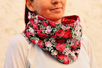Šatky - Ruže s bodkami-šatka - 5305027_