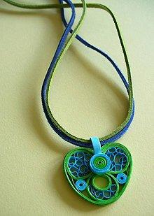 Náhrdelníky - modro- zelený - 5305466_
