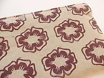 Taštičky - Ľanový peračník s kvietkovou potlačou - fialovo-tyrkysový - 5307514_
