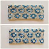 Taštičky - Ľanový peračník s kvietkovou potlačou - modro-žltý - 5307613_
