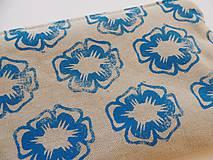 Taštičky - Ľanový peračník s kvietkovou potlačou - modro-žltý - 5307617_