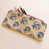 - Ľanový peračník s ružičkovou potlačou - modro-červený - 5307683_