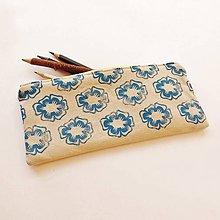 Taštičky - Ľanový peračník s kvietkovou potlačou - modro-žltý - 5307616_