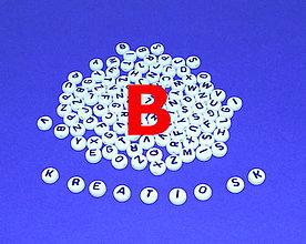 Korálky - B - Akrylové písmenko, biele - 5306824_