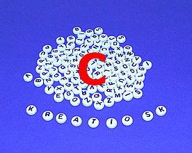 Korálky - C - Akrylové písmenko, biele - 5306876_
