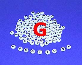 Korálky - G - Akrylové písmenko, biele - 5306904_