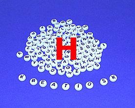 Korálky - H - Akrylové písmenko, biele - 5306910_