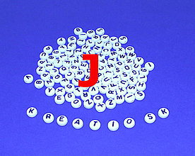 Korálky - J - Akrylové písmenko, biele - 5306912_