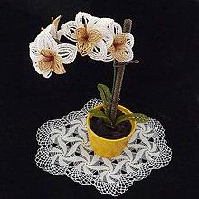 Dekorácie - Orchidejka zlatobílá...korálková - 5309289_